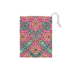 Petals, Carnival, Bold Flower Design Drawstring Pouch (small) by Zandiepants