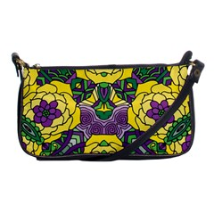 Petals In Mardi Gras Colors, Bold Floral Design Shoulder Clutch Bag by Zandiepants