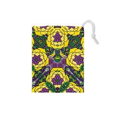 Petals In Mardi Gras Colors, Bold Floral Design Drawstring Pouch (small) by Zandiepants