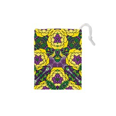 Petals In Mardi Gras Colors, Bold Floral Design Drawstring Pouch (xs) by Zandiepants
