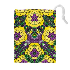 Petals In Mardi Gras Colors, Bold Floral Design Drawstring Pouch (xl) by Zandiepants