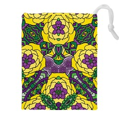 Petals In Mardi Gras Colors, Bold Floral Design Drawstring Pouch (xxl) by Zandiepants