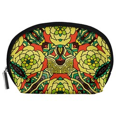 Petals, Retro Yellow, Bold Flower Design Accessory Pouch (large) by Zandiepants