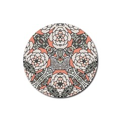 Petals In Vintage Pink, Bold Flower Design Rubber Round Coaster (4 Pack) by Zandiepants