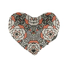 Petals In Vintage Pink, Bold Flower Design Standard 16  Premium Heart Shape Cushion  by Zandiepants