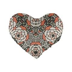 Petals In Vintage Pink, Bold Flower Design Standard 16  Premium Flano Heart Shape Cushion  by Zandiepants