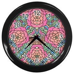 Petals, Carnival, Bold Flower Design Wall Clock (black) by Zandiepants
