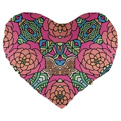 Petals, Carnival, Bold Flower Design Large 19  Premium Flano Heart Shape Cushion by Zandiepants