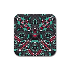 Petals In Dark & Pink, Bold Flower Design Rubber Square Coaster (4 Pack) by Zandiepants