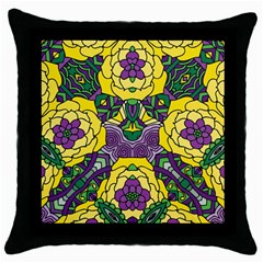 Petals In Mardi Gras Colors, Bold Floral Design Throw Pillow Case (black) by Zandiepants
