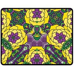 Petals In Mardi Gras Colors, Bold Floral Design Fleece Blanket (medium) by Zandiepants