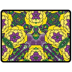 Petals In Mardi Gras Colors, Bold Floral Design Double Sided Fleece Blanket (large) by Zandiepants