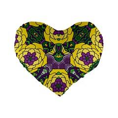 Petals In Mardi Gras Colors, Bold Floral Design Standard 16  Premium Flano Heart Shape Cushion  by Zandiepants