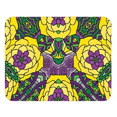 Petals In Mardi Gras Colors, Bold Floral Design Double Sided Flano Blanket (large) by Zandiepants