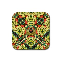 Petals, Retro Yellow, Bold Flower Design Rubber Square Coaster (4 Pack) by Zandiepants