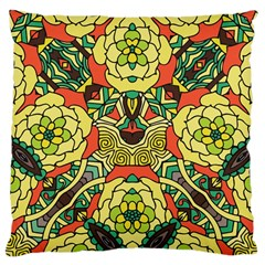 Petals, Retro Yellow, Bold Flower Design Large Cushion Case (two Sides) by Zandiepants