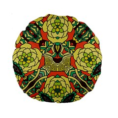 Petals, Retro Yellow, Bold Flower Design Standard 15  Premium Round Cushion  by Zandiepants
