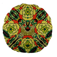 Petals, Retro Yellow, Bold Flower Design Large 18  Premium Round Cushion  by Zandiepants