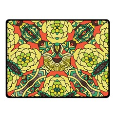 Petals, Retro Yellow, Bold Flower Design Double Sided Fleece Blanket (small) by Zandiepants