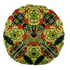 Petals, Retro Yellow, Bold Flower Design Large 18  Premium Flano Round Cushion  by Zandiepants