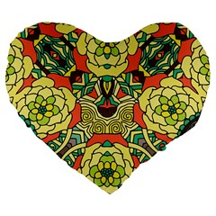 Petals, Retro Yellow, Bold Flower Design Large 19  Premium Flano Heart Shape Cushion by Zandiepants