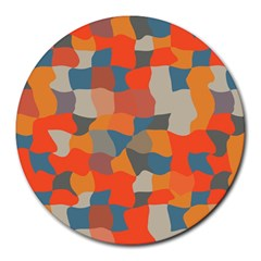 Retro colors distorted shapes                           			Round Mousepad by LalyLauraFLM