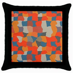 Retro Colors Distorted Shapes                           throw Pillow Case (black) by LalyLauraFLM