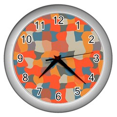 Retro Colors Distorted Shapes                           wall Clock (silver) by LalyLauraFLM
