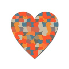 Retro Colors Distorted Shapes                           magnet (heart) by LalyLauraFLM