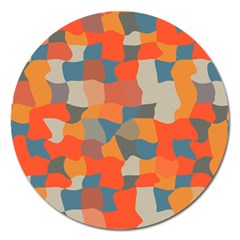 Retro Colors Distorted Shapes                           magnet 5  (round) by LalyLauraFLM