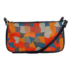 Retro Colors Distorted Shapes                           			shoulder Clutch Bag by LalyLauraFLM