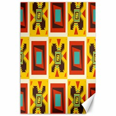 Retro Colors Squares Pattern                            			canvas 24  X 36  by LalyLauraFLM