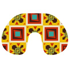 Retro Colors Squares Pattern                            Travel Neck Pillow by LalyLauraFLM