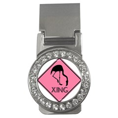 Flamingo Crossing Traffic Sign Money Clips (cz)  by CrypticFragmentsColors
