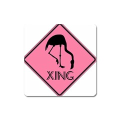 Flamingo Crossing Traffic Sign Square Magnet by CrypticFragmentsColors