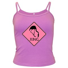 Flamingo Crossing Traffic Sign Dark Spaghetti Tank