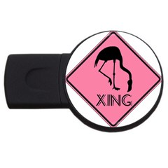 Flamingo Crossing Traffic Sign Usb Flash Drive Round (4 Gb)  by CrypticFragmentsColors