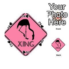 Flamingo Crossing Traffic Sign Playing Cards 54 (round)  by CrypticFragmentsColors