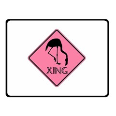 Flamingo Crossing Traffic Sign Double Sided Fleece Blanket (Small)  by CrypticFragmentsColors