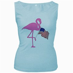 Flamingo American Flag Patriotic Women s Baby Blue Tank Top by CrypticFragmentsColors