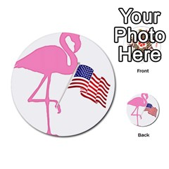 Flamingo American Flag Patriotic Multi Purpose Cards (round)  by CrypticFragmentsColors