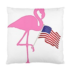 Flamingo American Flag Patriotic Standard Cushion Case (two Sides) by CrypticFragmentsColors