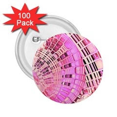 Pretty Pink Circles Curves Pattern 2 25  Button (100 Pack) by CrypticFragmentsDesign