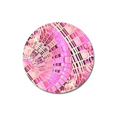 Pretty Pink Circles Curves Pattern Magnet 3  (round) by CrypticFragmentsDesign