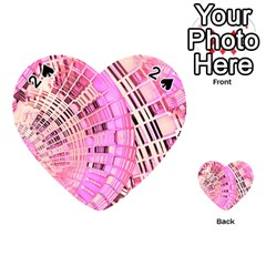 Pretty Pink Circles Curves Pattern Playing Cards 54 (heart)