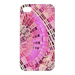 Pretty Pink Circles Curves Pattern Apple Iphone 4/4s Premium Hardshell Case by CrypticFragmentsDesign