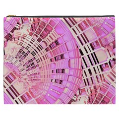 Semi circles abstract modern art pink Cosmetic Bag (XXXL)  by CrypticFragmentsDesign
