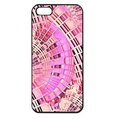 Pretty Pink Circles Curves Pattern Apple Iphone 5 Seamless Case (black) by CrypticFragmentsDesign