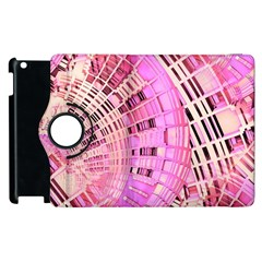Pretty Pink Circles Curves Pattern Apple Ipad 3/4 Flip 360 Case by CrypticFragmentsDesign