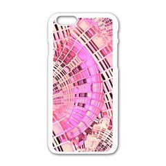 Pretty Pink Circles Curves Pattern Apple Iphone 6/6s White Enamel Case by CrypticFragmentsDesign